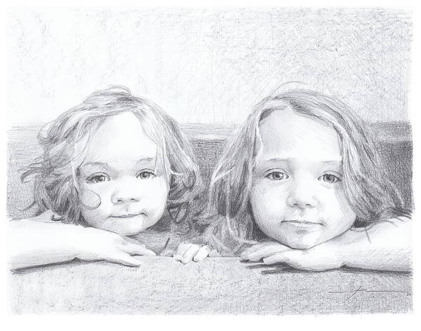Www.miketheuer.com Baby Sisters Bathtub Drawing Art Print featuring the drawing Baby Sisters Bathtub Drawing by Mike Theuer