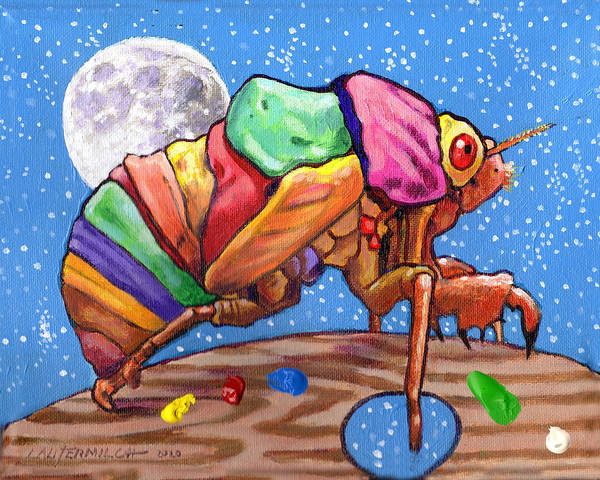 Cicadas Art Print featuring the painting Cicadas Shell Palette by John Lautermilch