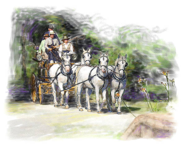 Horse Art Print featuring the painting Coaching In Acadia- Carriage Driving Four In Hand by Connie Moses