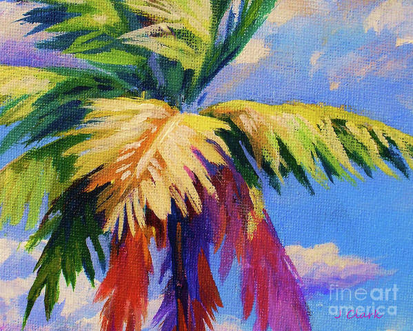 Beaches Art Print featuring the painting Colorful Palm by John Clark
