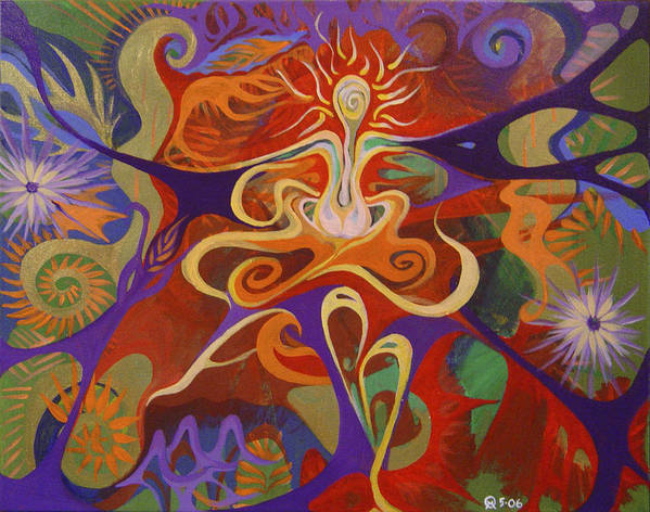 Woman Sitting In Flowy Colors - Meditative And Imaginative Art Print featuring the painting Dance Of Color by Michelle Oravitz