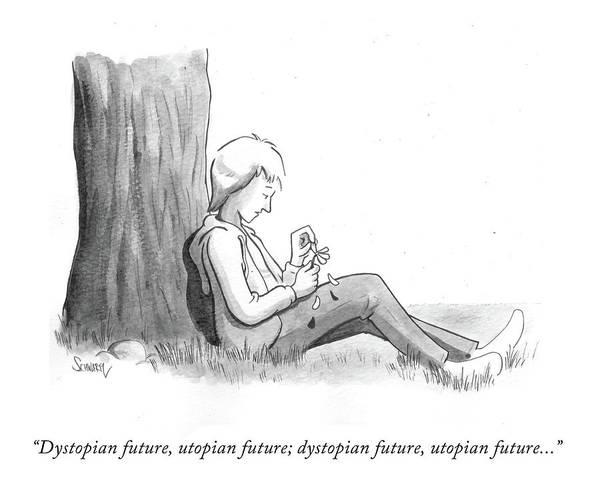 Dystopian Future Art Print featuring the drawing Dystopian Utopian Future by Benjamin Schwartz