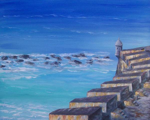 El Morro Fortress Art Print featuring the painting El Morro Fortress by Tony Rodriguez