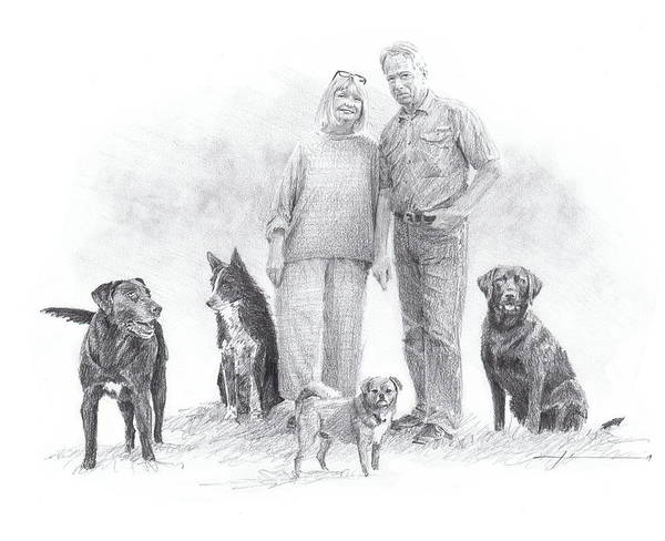 Www.miketheuer.comfamily Parents And Dogs Pencil Portrait Art Print featuring the drawing Family Parents And Dogs by Mike Theuer
