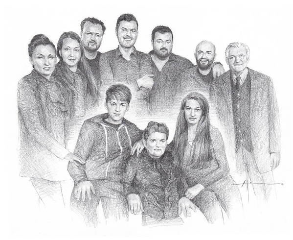Www.miketheuer.com Family Reunion Pencil Portrait Art Print featuring the drawing Family reunion pencil drawing by Mike Theuer