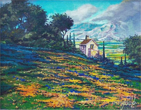 Flower Hill Art Print featuring the painting Flower Hill by Sinisa Saratlic