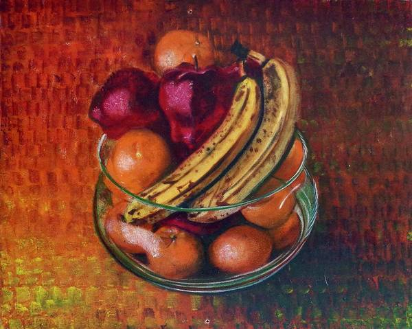 Oil Painting On Canvas Art Print featuring the painting Glass Bowl Of Fruit by Sean Connolly