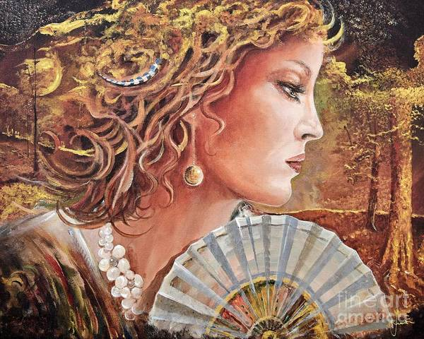 Female Portrait Art Print featuring the painting Golden Wood by Sinisa Saratlic