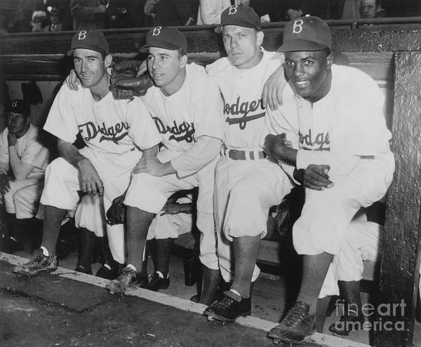 People Art Print featuring the photograph Jackie Robinson and Pee Wee Reese by National Baseball Hall Of Fame Library