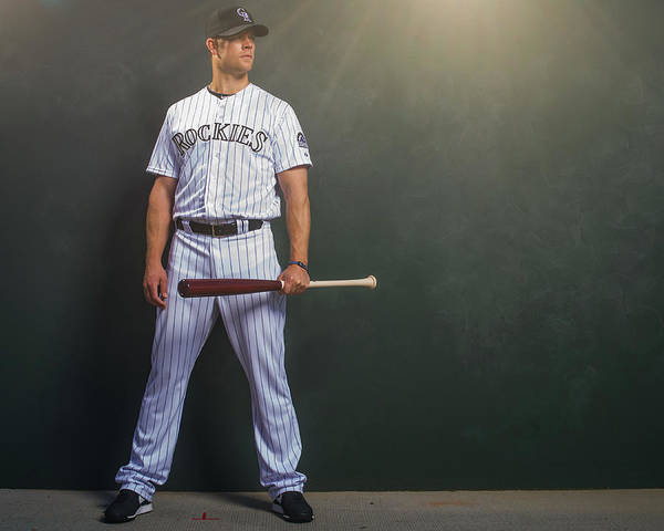 Media Day Art Print featuring the photograph Justin Morneau by Rob Tringali