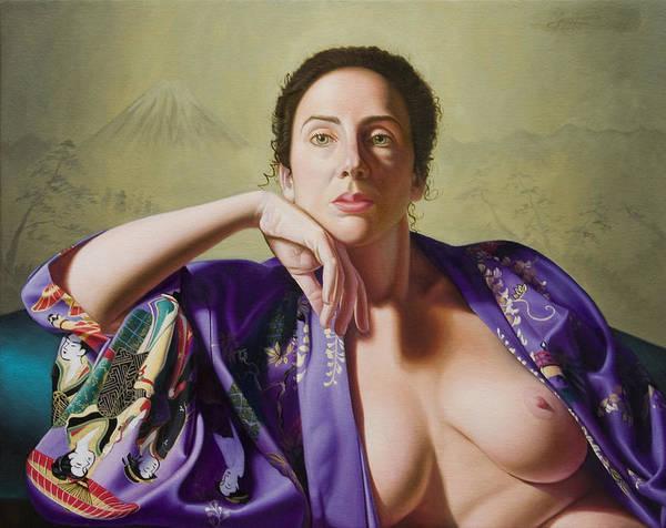 Purple Silk Kimono Art Print featuring the painting Kimono by Gary Hernandez