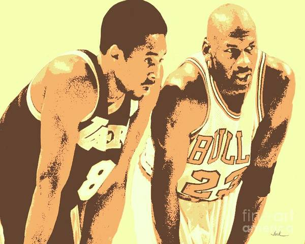 Kobe Bryant Art Print featuring the painting Kobe and Michael by Jack Bunds