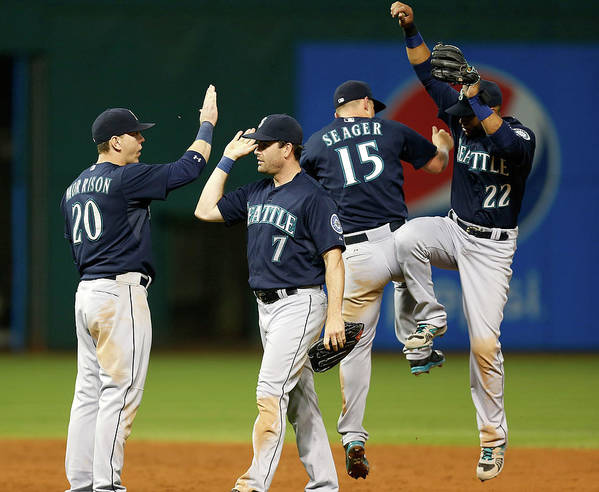 People Art Print featuring the photograph Logan Morrison, Seth Smith, and Kyle Seager by Kirk Irwin