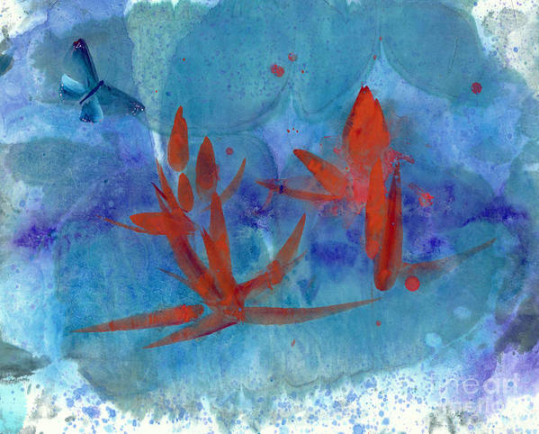 A Blue Butterfly Dotting Amid The Lotus Flowers. This Is A Contemporary Chinese Ink And Watercolor On Rice Paper Painting. Art Print featuring the painting Lotus and Butterfly by Mui-Joo Wee
