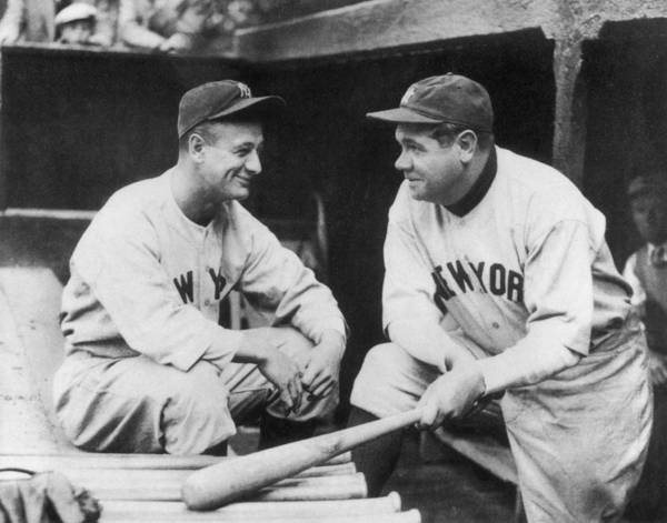 1930-1939 Art Print featuring the photograph Lou Gehrig and Babe Ruth by Mpi