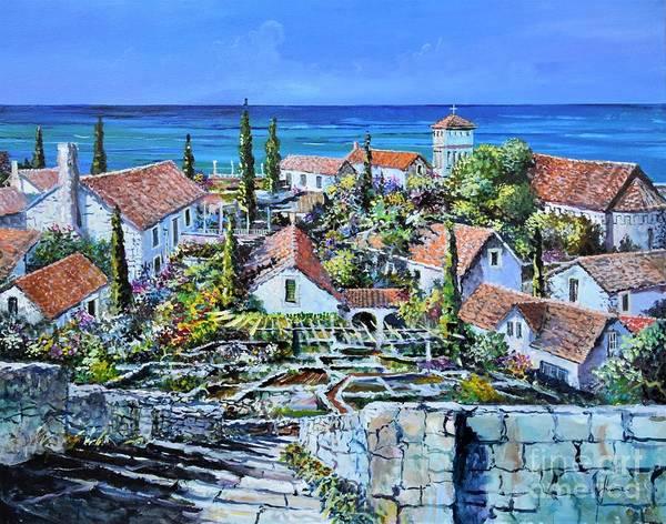 Original Painting Art Print featuring the painting Mediterraneo by Sinisa Saratlic