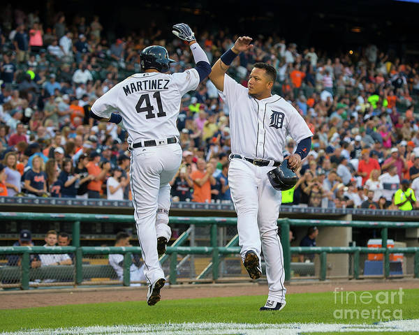 People Art Print featuring the photograph Miguel Cabrera and Victor Martinez by Dave Reginek