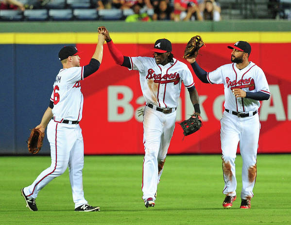 Atlanta Art Print featuring the photograph Nick Markakis and Cameron Maybin by Scott Cunningham