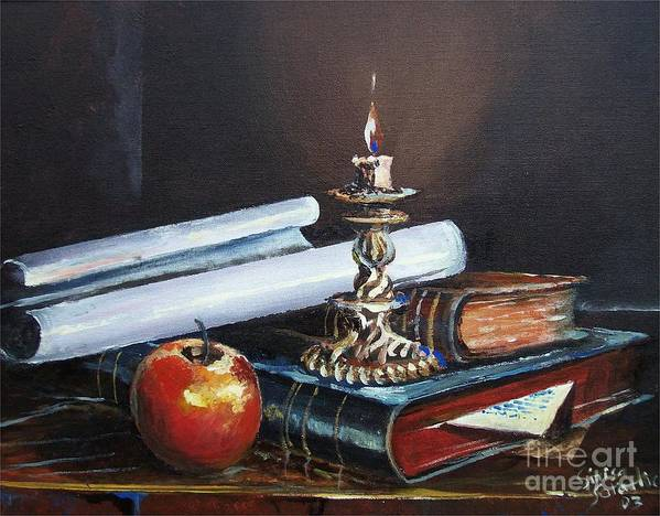 Original Painting Art Print featuring the painting Old Books by Sinisa Saratlic