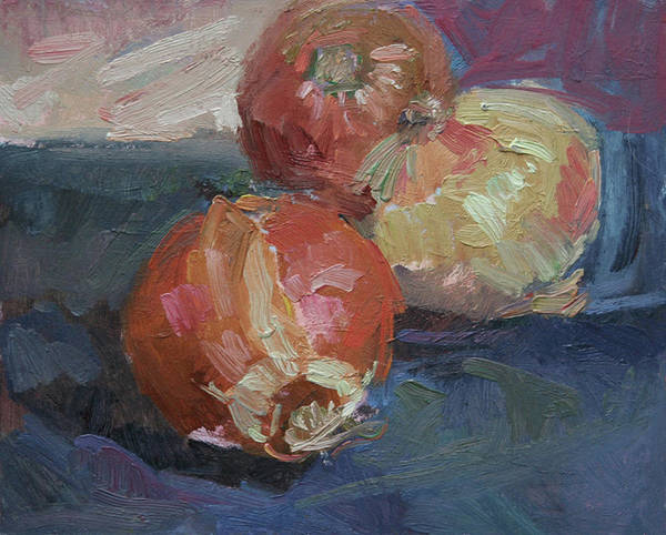 Still Life With Onions Art Print featuring the painting Onions by Betty Jean Billups