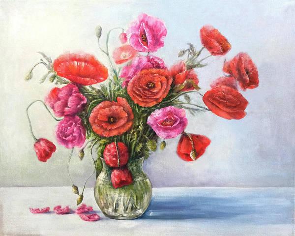 Poppy Art Print featuring the painting Poppy flowers by Natalja Picugina