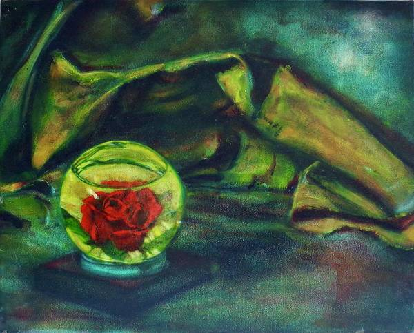 Oil Painting On Canvas Art Print featuring the painting Preserved Rose . . Draped Canvas by Sean Connolly