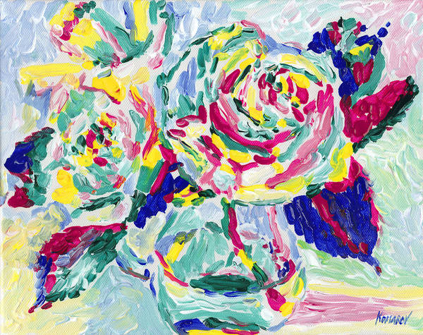 Rose Art Print featuring the painting Rose flowers oil painting, roses bouquet still life, botanical still life, impressionism flower art by Vitali Komarov