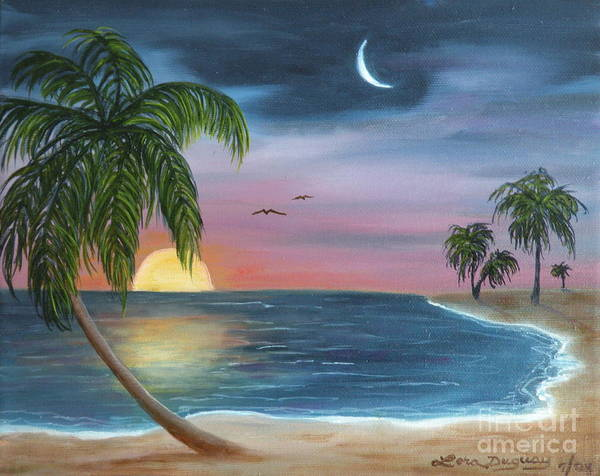 Moonrise Art Print featuring the painting Sailors Moon by Lora Duguay