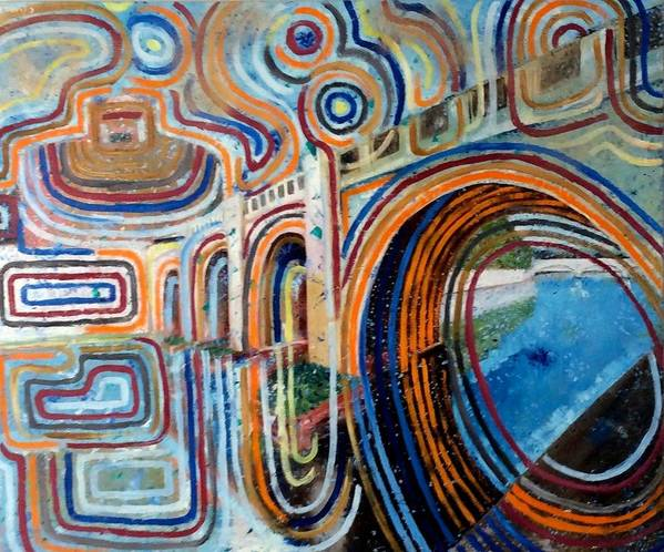 Abstract Construction Of Bridge Art Print featuring the painting SanGandolfo by Biagio Civale