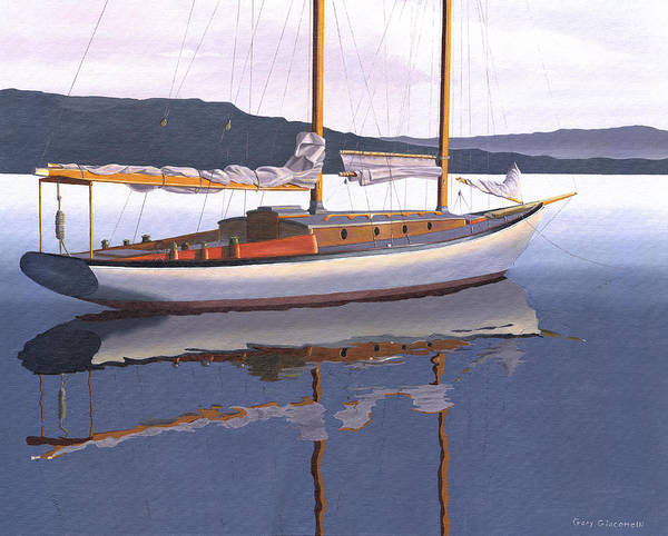 Schooner Art Print featuring the painting Schooner at dusk by Gary Giacomelli