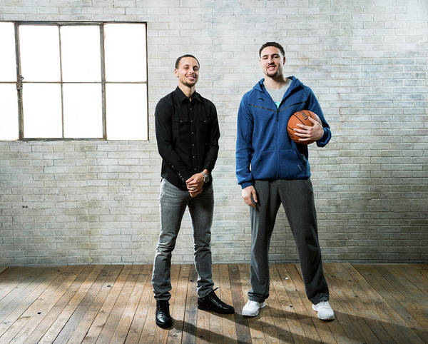 Nba Pro Basketball Art Print featuring the photograph Stephen Curry and Klay Thompson by Nathaniel S. Butler