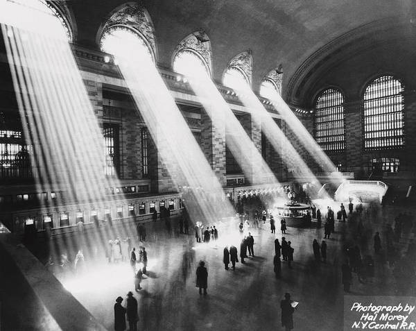 Architectural Feature Art Print featuring the photograph Sun Beams Into Grand Central Station by Hal Morey