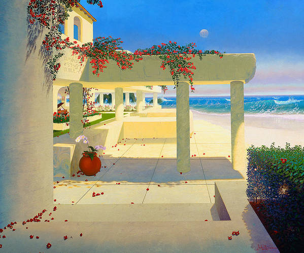 Patio By The Shore Art Print featuring the painting Telos Mu Mural From The Accelerated Evolution Series by Loren Adams