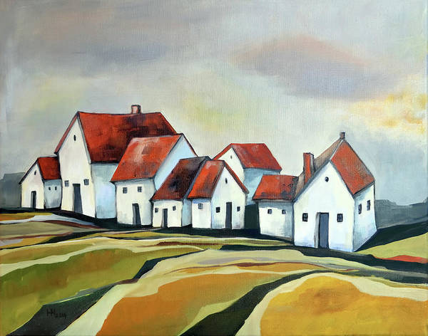 Village Art Print featuring the painting The smallest village by Aniko Hencz