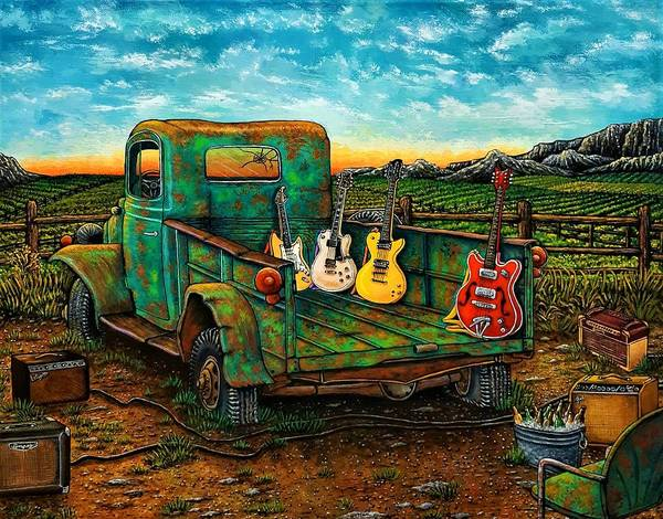 Guitar Art Print featuring the painting Three Blondes And A Redneck by Donna L Byers
