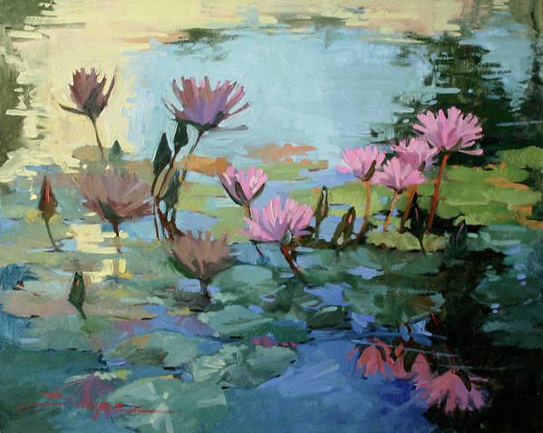 Floral Art Print featuring the painting Times Between - water Lilies by Betty Jean Billups