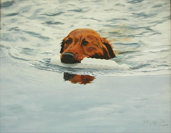 Dog Art Print featuring the painting Training Days I by Scott Alcorn