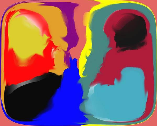 Abstract Art Print featuring the digital art Two Peas in a Pod by Pharris Art