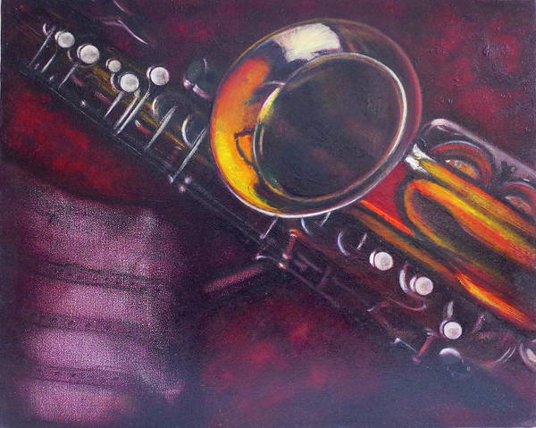 Oil Painting On Canvas Art Print featuring the painting Unprotected Sax by Sean Connolly