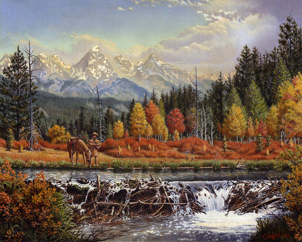 Western Mountain Landscape Art Print featuring the painting Western Mountain Landscape Autumn Mountain Man Trapper Beaver Dam Frontier Americana Oil Painting by Walt Curlee