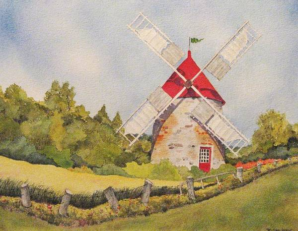 Windmills Art Print featuring the painting Windmill on Ile aux Coudres Quebec by Mary Ellen Mueller Legault