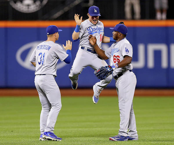 People Art Print featuring the photograph Yasiel Puig and Joc Pederson by Elsa