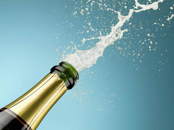 Celebration Art Print featuring the photograph Champagne Exploding From Bottle by Andy Roberts