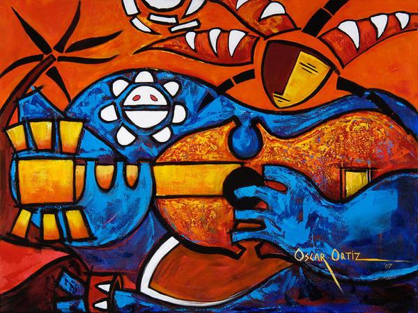 Puerto Rico Art Print featuring the painting Cuatro En Grande by Oscar Ortiz