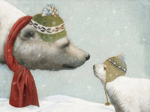 Polar Bear Art Print featuring the drawing First Winter by Eric Fan