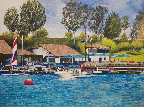 Water Art Print featuring the painting Lake Mission Viejo by Jim Reale
