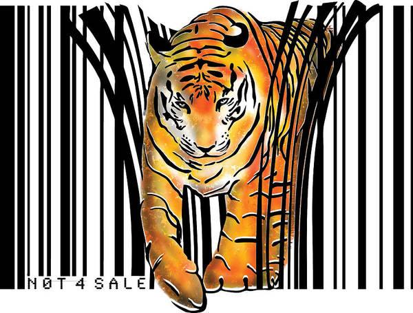 Tiger Art Print featuring the digital art Tiger barcode by Sassan Filsoof