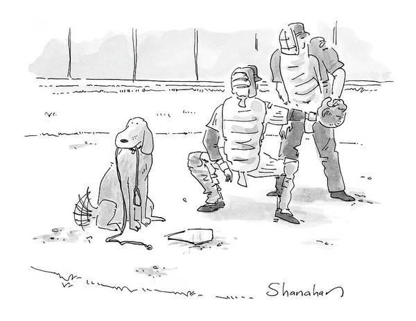 Sports Pets Dogs Baseball Homeplate Walk Art Print featuring the drawing New Yorker October 10th, 2005 by Danny Shanahan