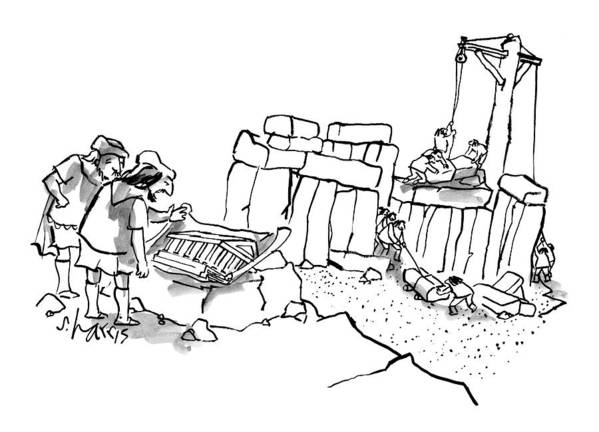 Stonehenge Art Print featuring the drawing New Yorker February 23rd, 2009 by Sidney Harris