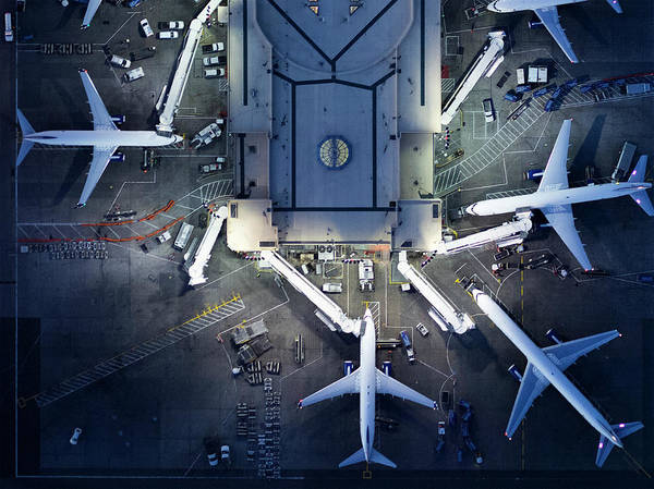 Airport Terminal Art Print featuring the photograph Airliners At Gates And Control Tower by Michael H